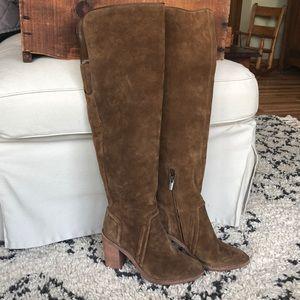 Vince Camuto tan/brown suede knee high boots/heel